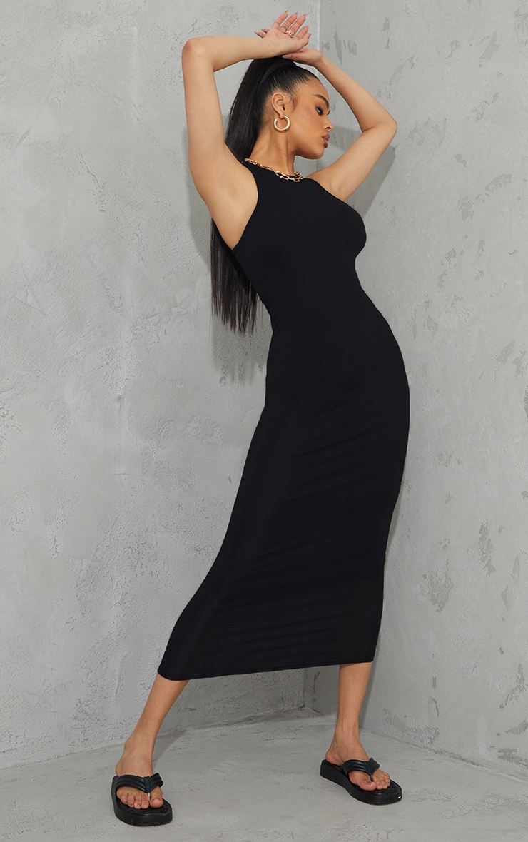Black Racer Neck Jersey Midaxi Dress 1