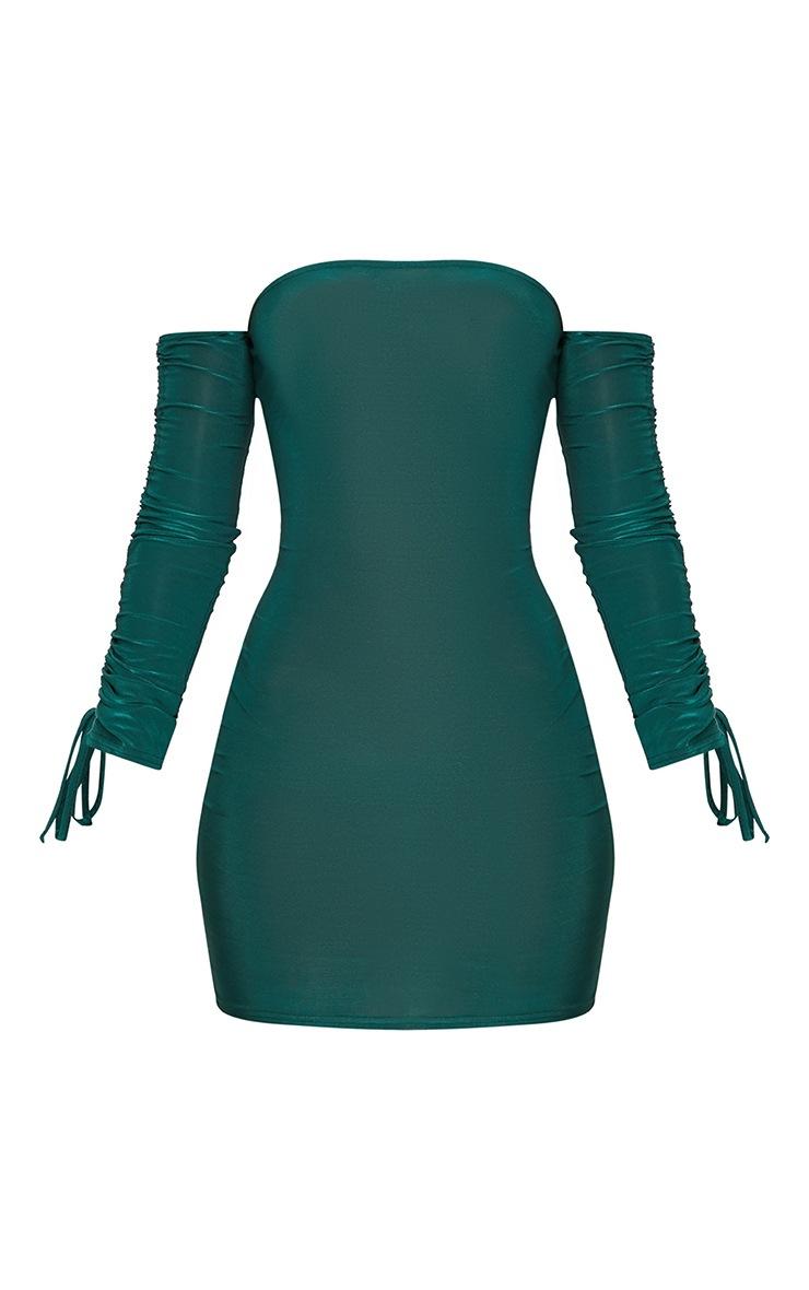 Emerald Green Slinky Bardot Bodycon Dress 3