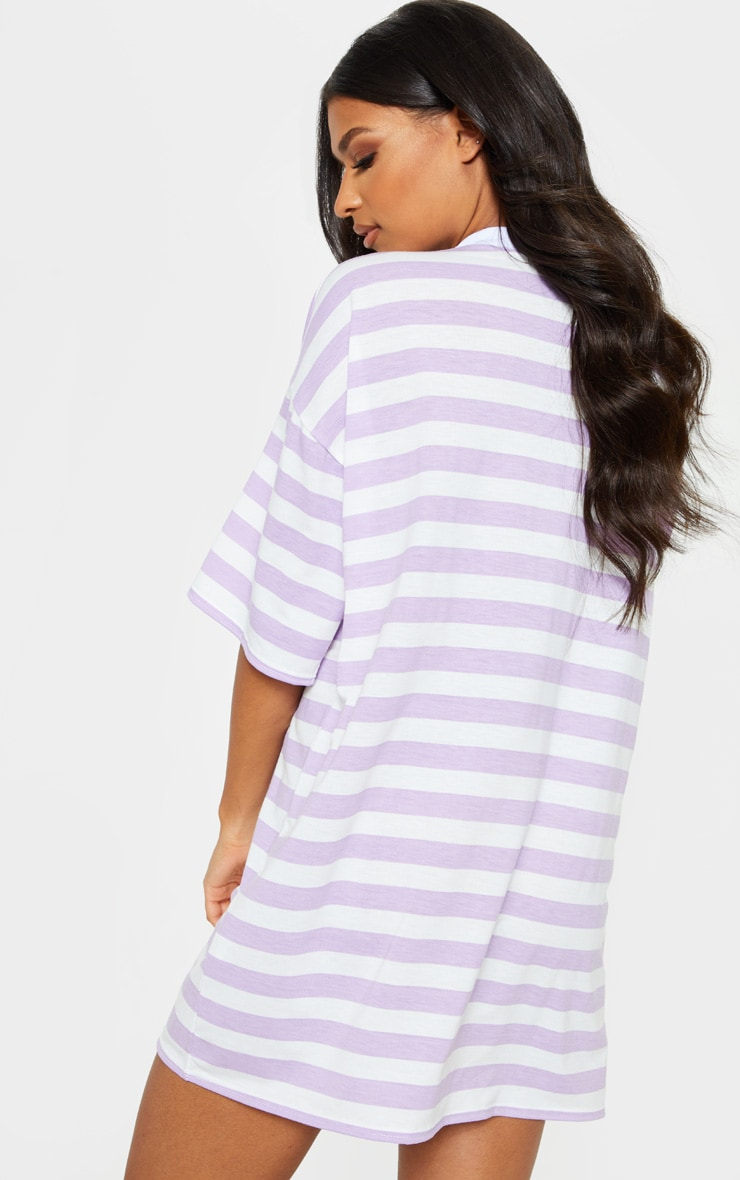 Lilac Stripe Oversized Boyfriend T Shirt Dress 2