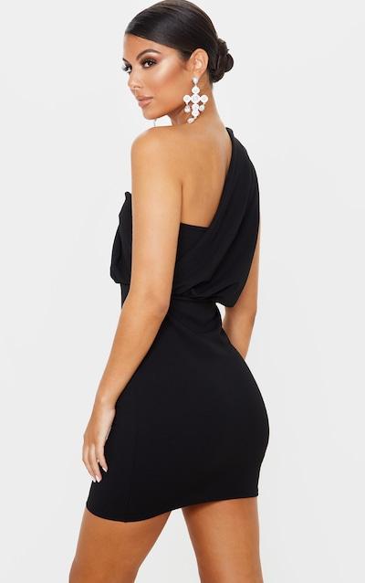 Black One Shoulder Draped Bodycon Dress