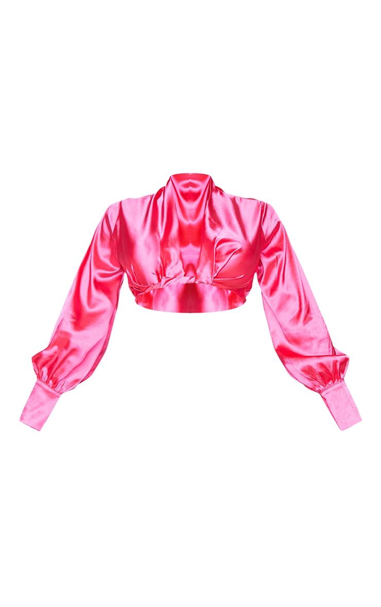 Shape Hot Pink Satin Wrap Front Cropped Shirt 5