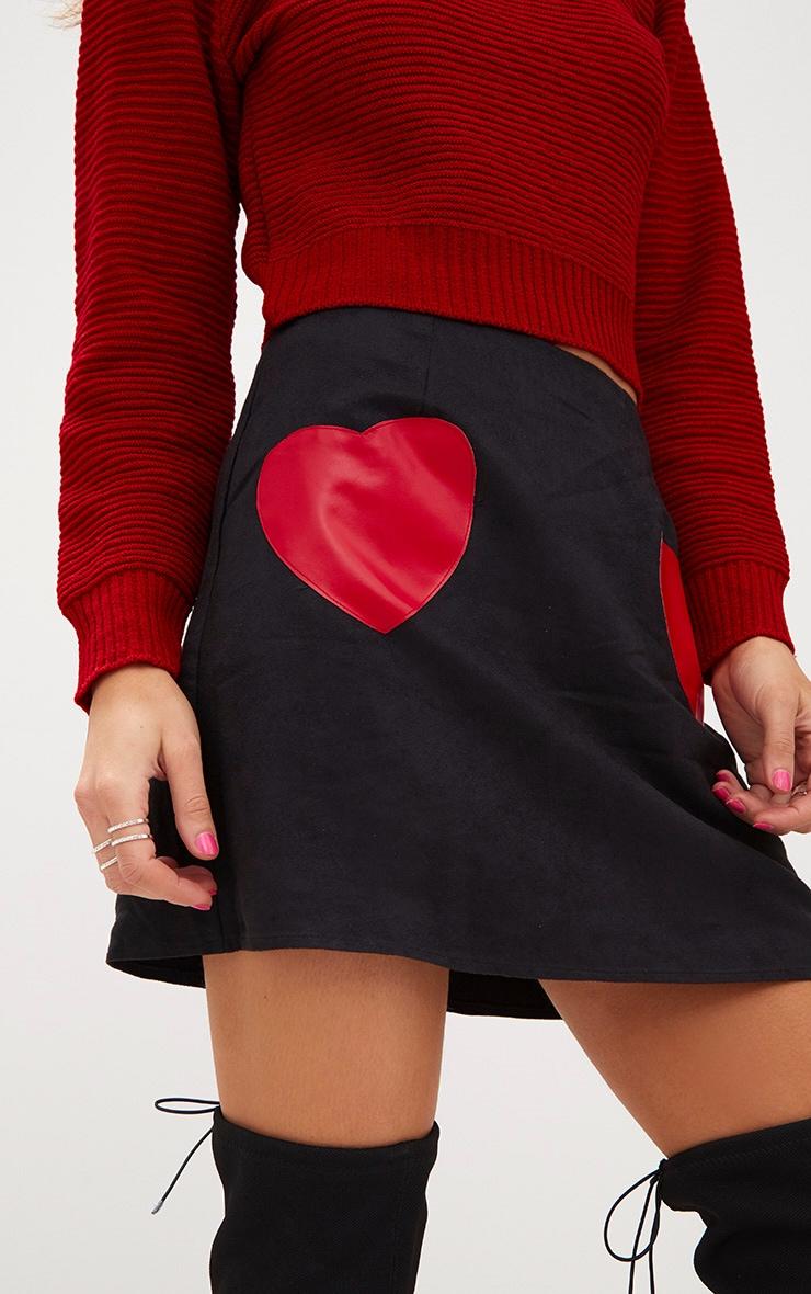 Black Faux Suede Heart Patch A Line Mini Skirt 6