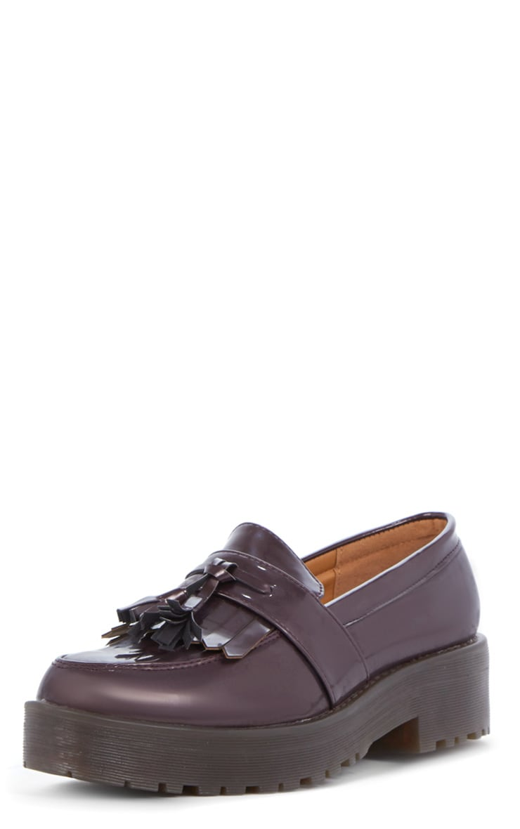Charis Patent Burgundy Chunky Loafer 4
