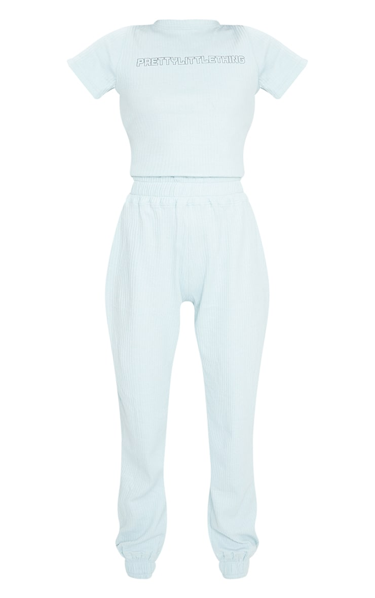PRETTYLITTLETHING Dusky Blue Thick Rib Jumpsuit 5