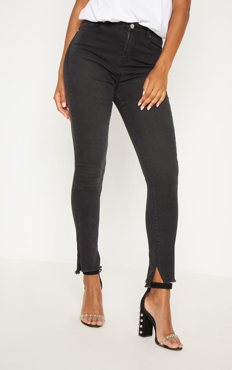 Black Split Hem High Waisted Skinny Jean 2