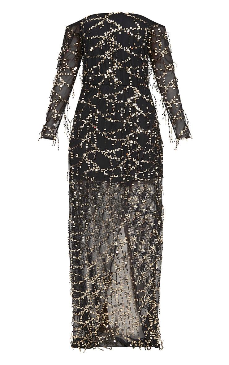 Black Bardot Sequin Wrap Maxi Dress 3