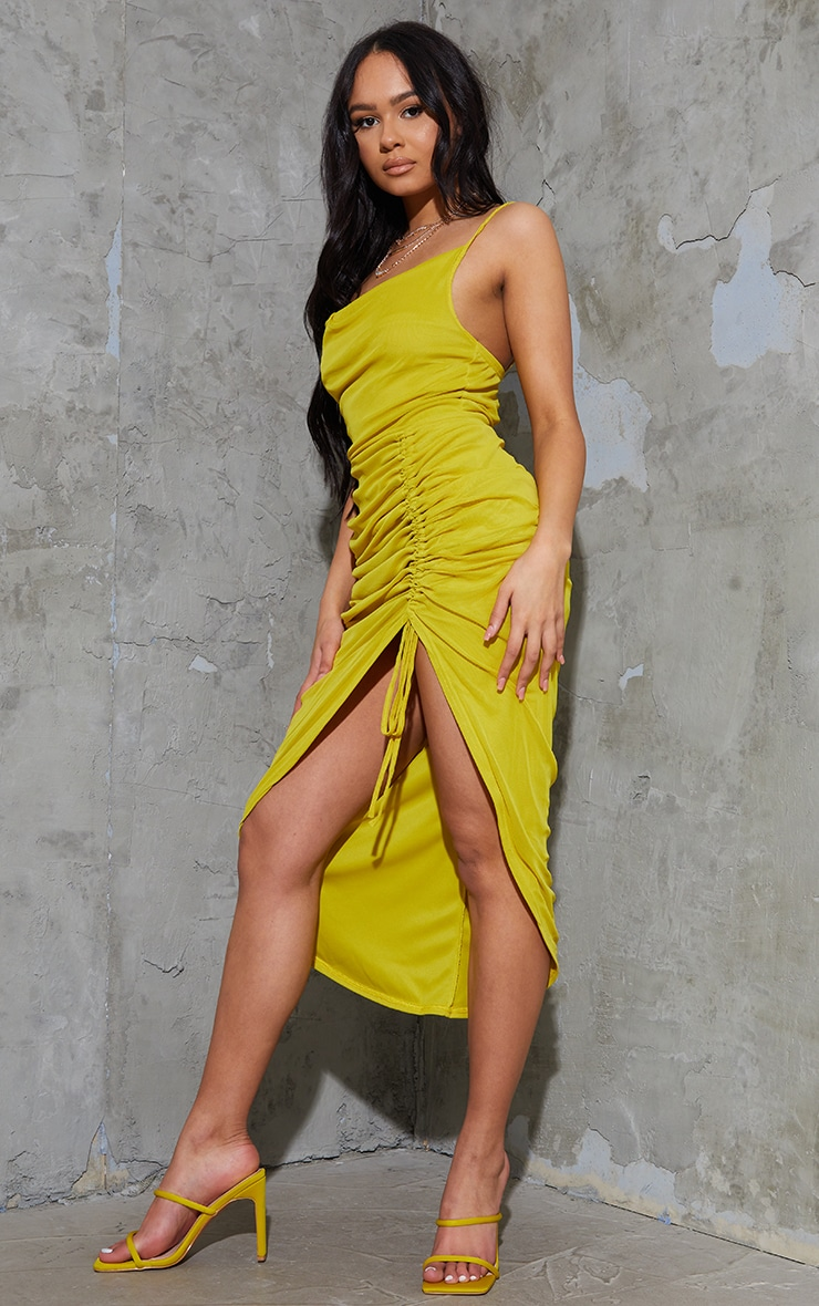 Chartreuse Mesh Strappy Cowl Neck Ruched Skirt Midi Dress 3