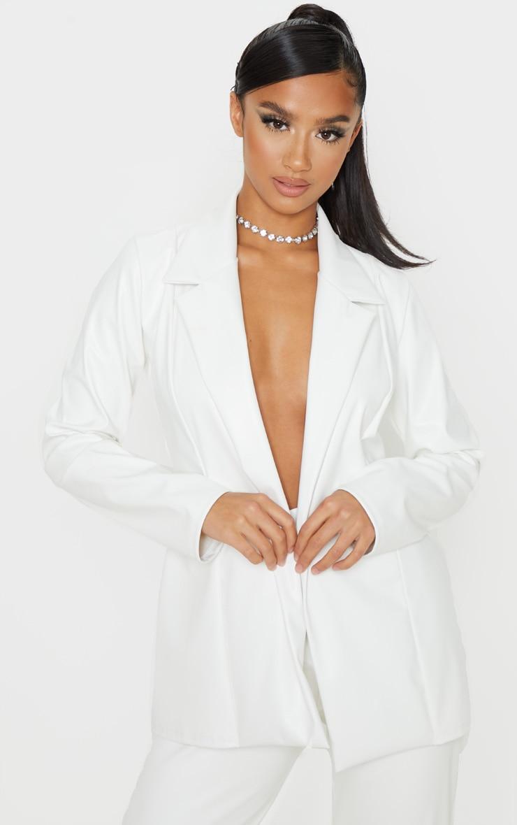 Petite White PU Blazer 1