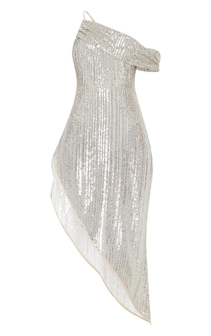 Silver Sequin Off The Shoulder Midi Dress  3
