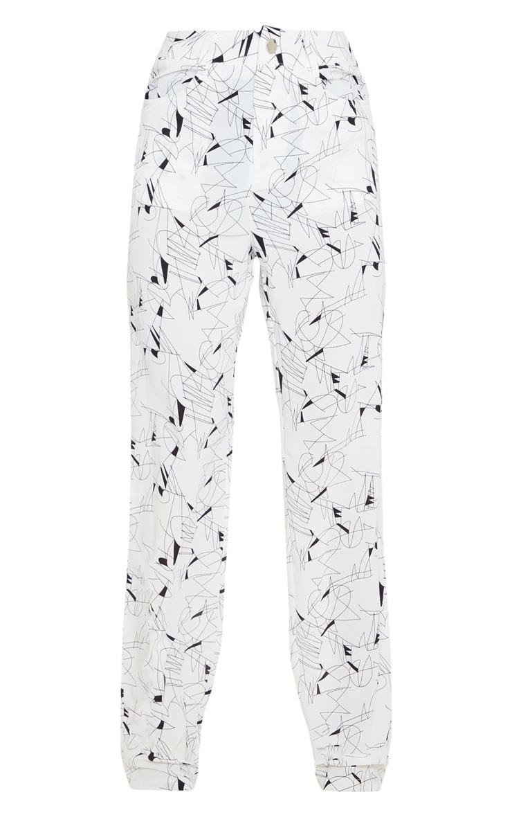 White Printed Straight Leg Trouser 3