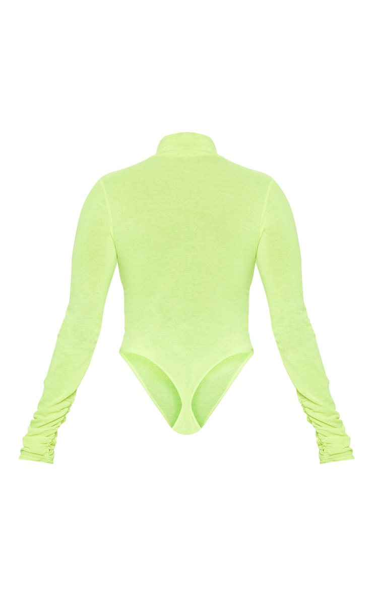 Neon Yellow Fine Knit Roll Neck Bodysuit 4