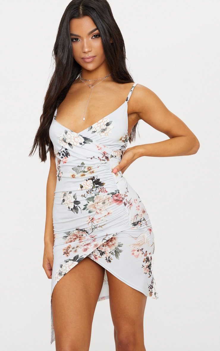 Grey Floral Print Wrap Midi Dress 1