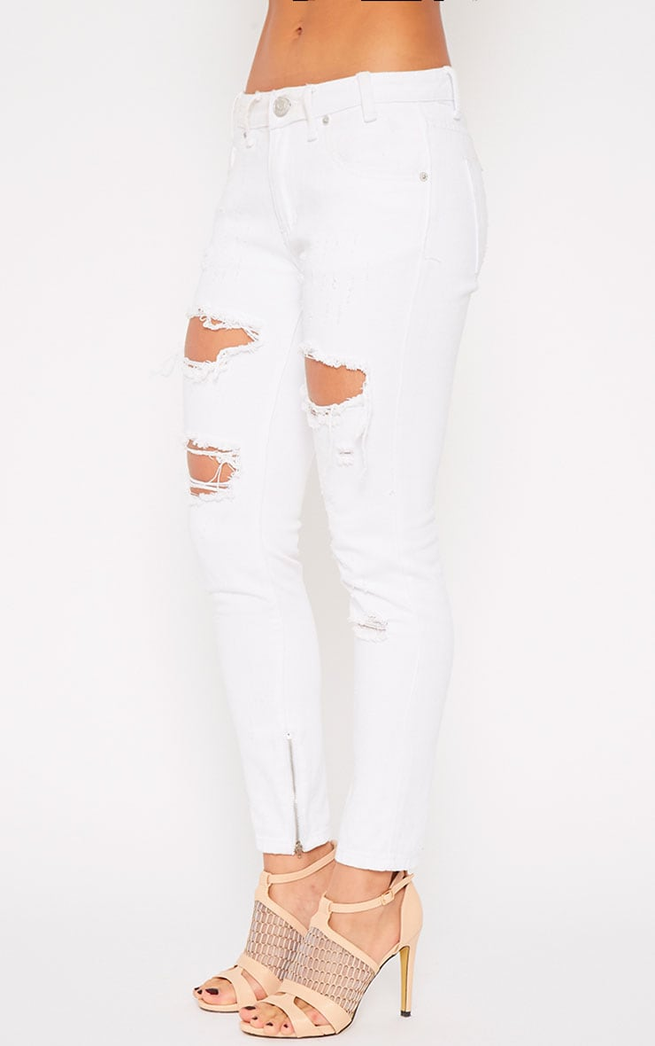 Miranda White Ankle Zip Mom Jeans 5