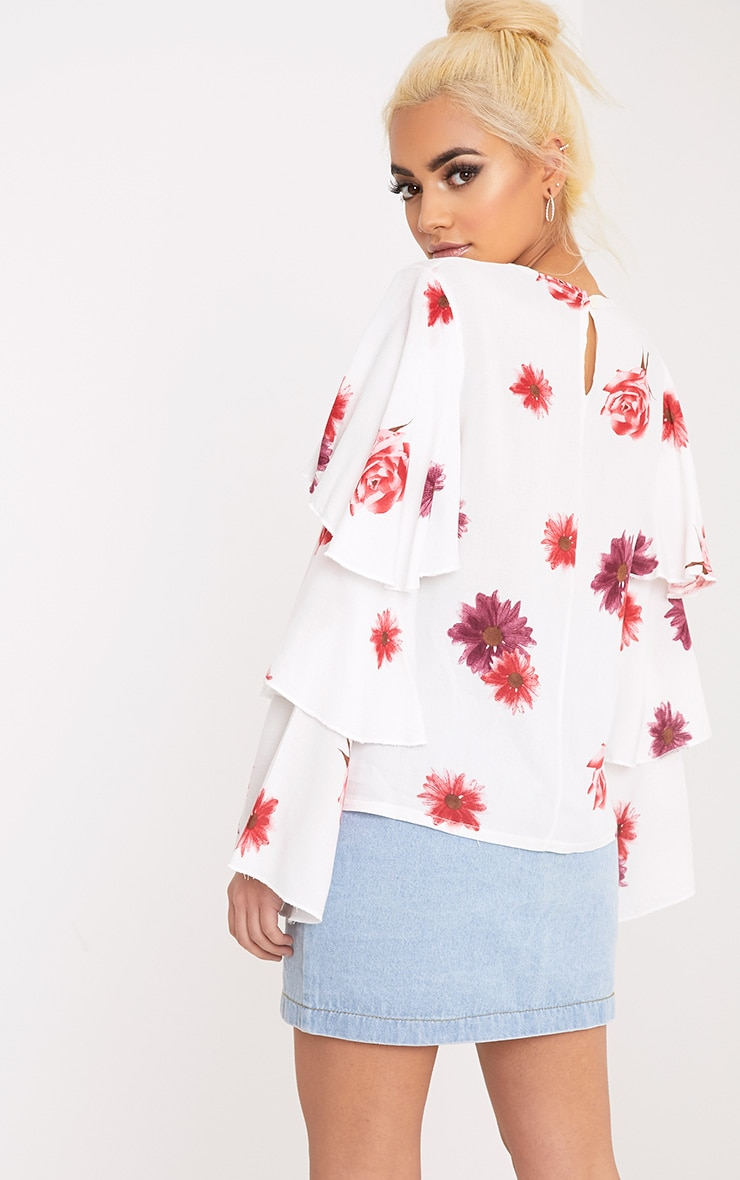 Lexia White Frill Longsleeve Floral Printed Blouse  2