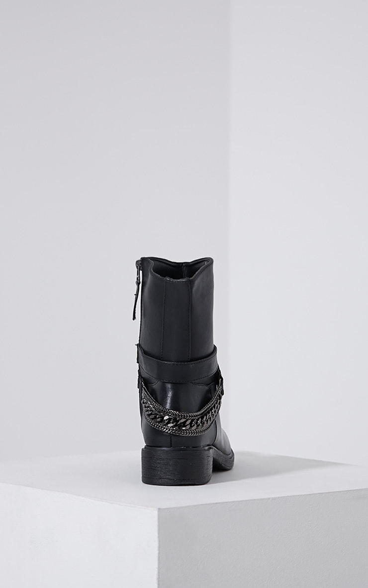 Caris Black Metal Chain Heel Boots 5