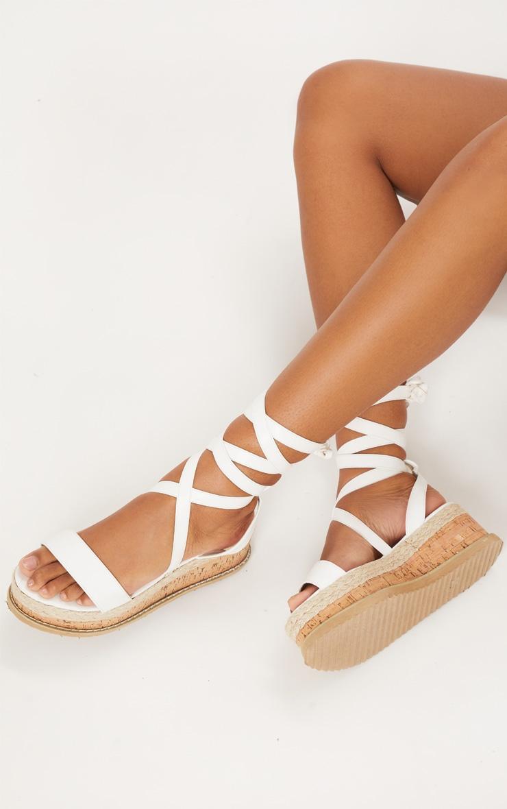Jacey White Espadrille Flatform Sandals 1