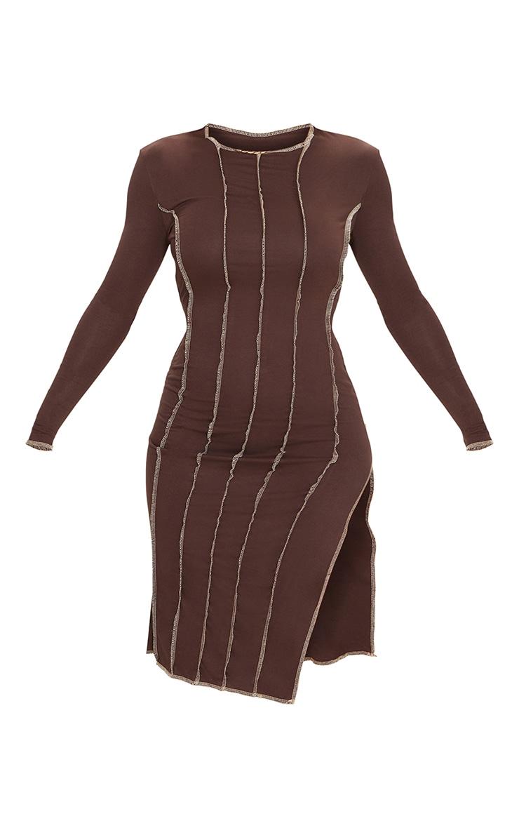 Brown Contrast Overlock Stitch Detail Long Sleeve Midi Dress 5