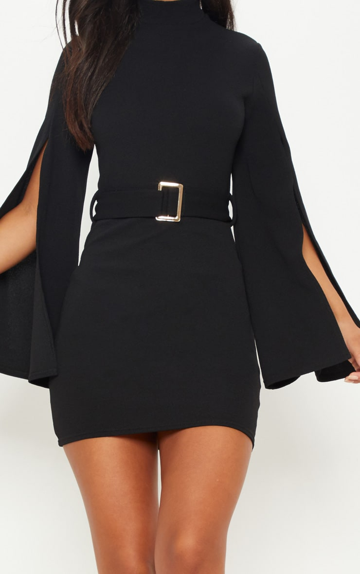 Black High Neck Flare Sleeve Belted Bodycon Dress 5
