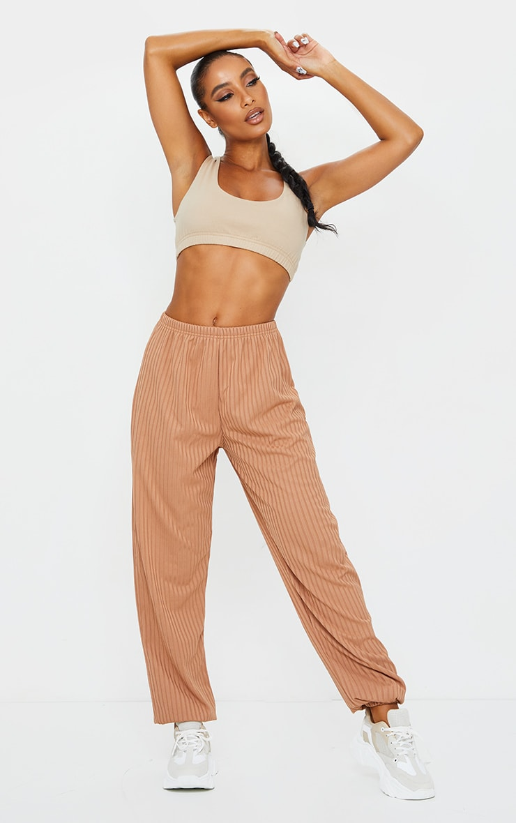 Camel Ribbed Casual Joggers 1