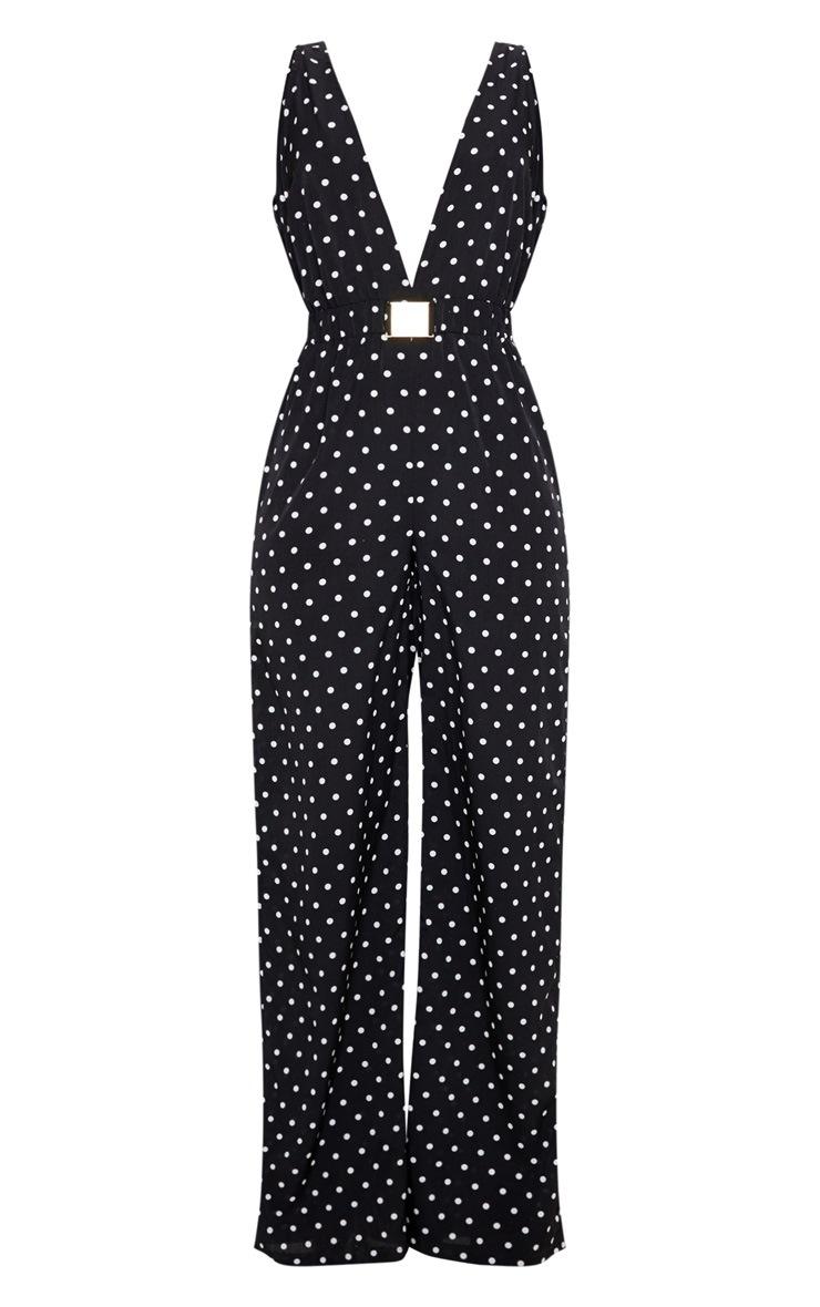 Black Polka Dot Buckle Belt Detail Jumpsuit 3