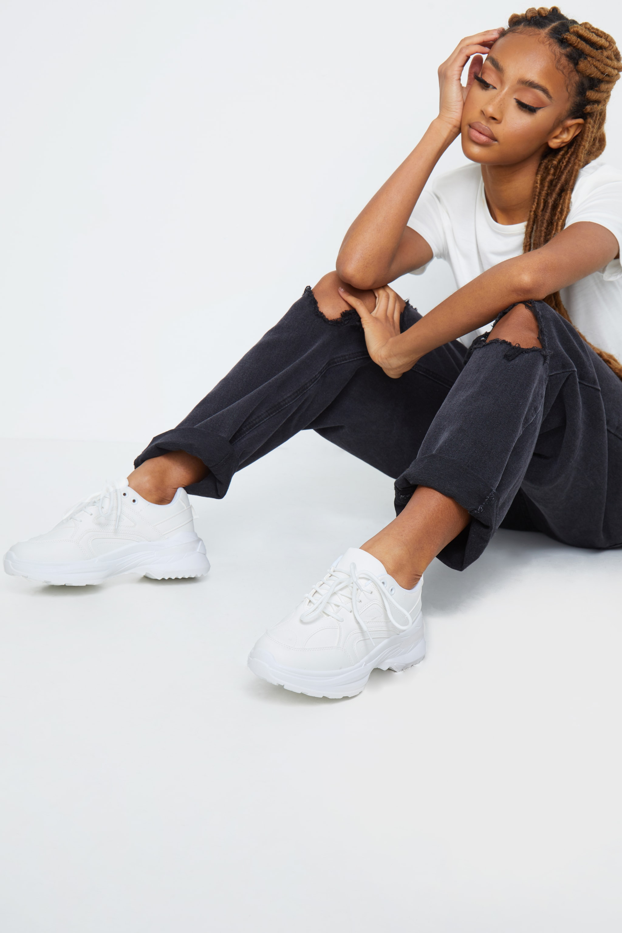White Contrast Pu Sneakers 1