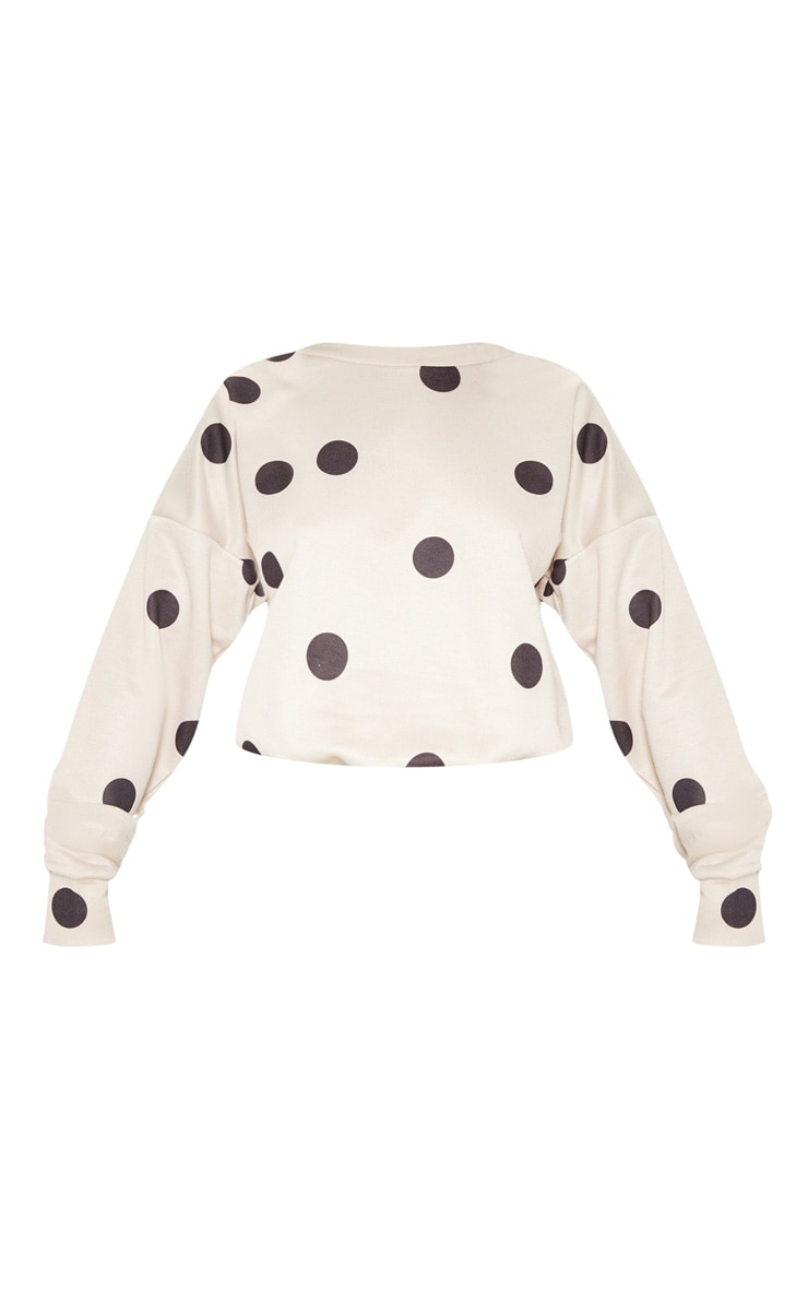 Nude Polka Dot Printed Oversized Sweater 3
