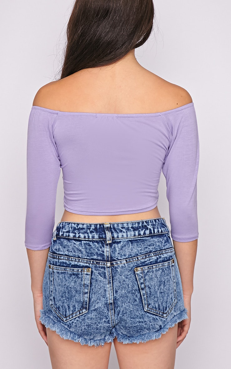Joy Lilac Bardot Crop Top  2