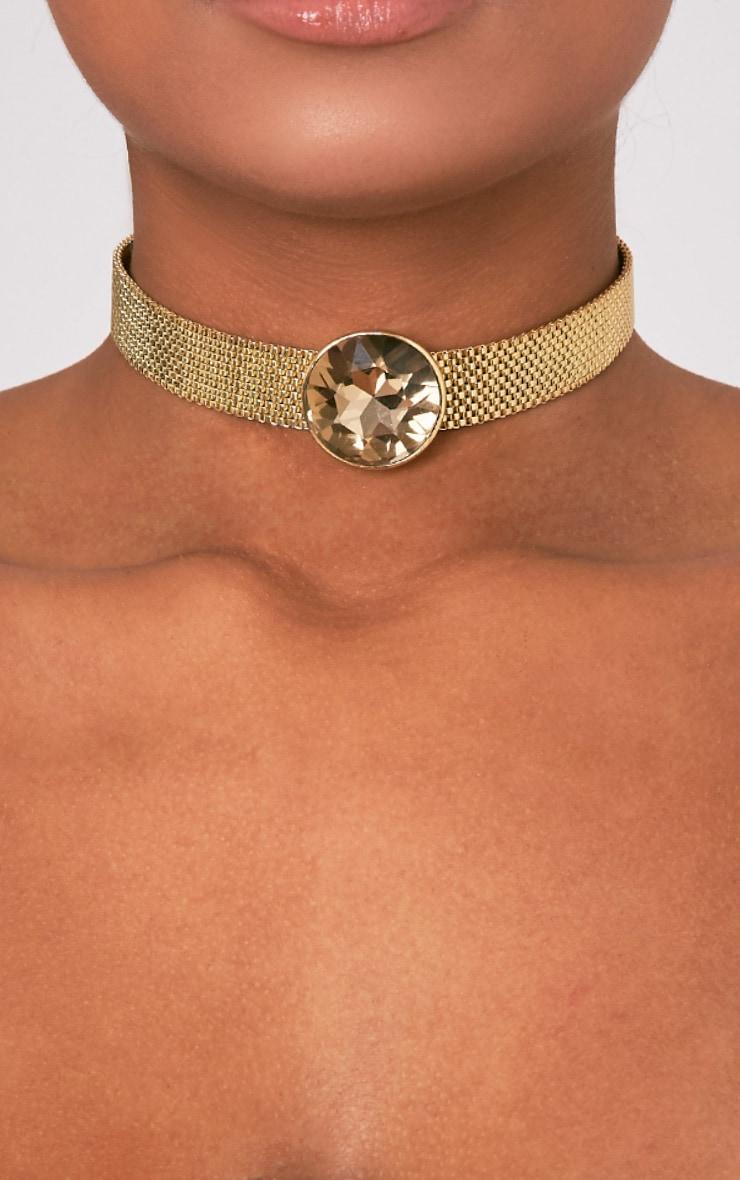 Indee Gold Big Jewel Choker 1
