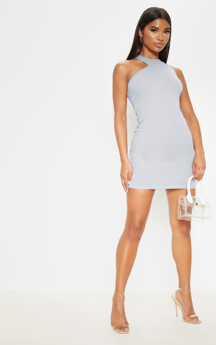 Grey Ribbed Cut Out Neck Detail Bodycon Dress 4