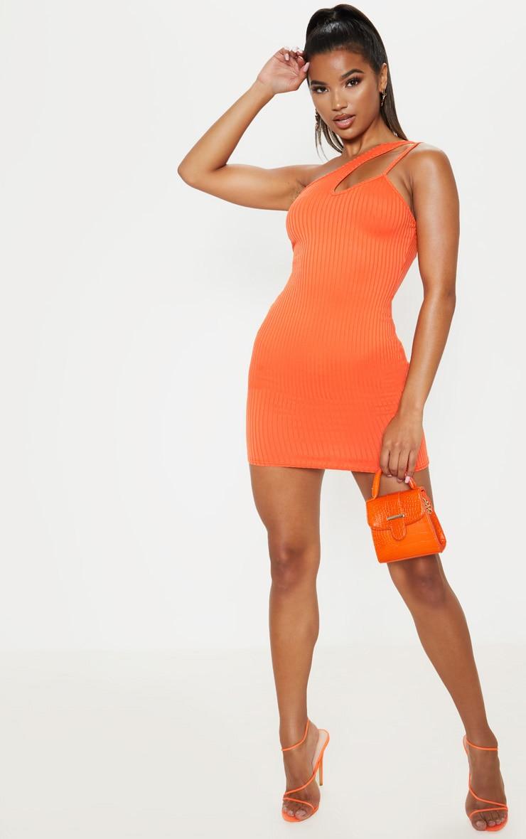 Robe moulante orange vif à détail lanière asymétrique 4