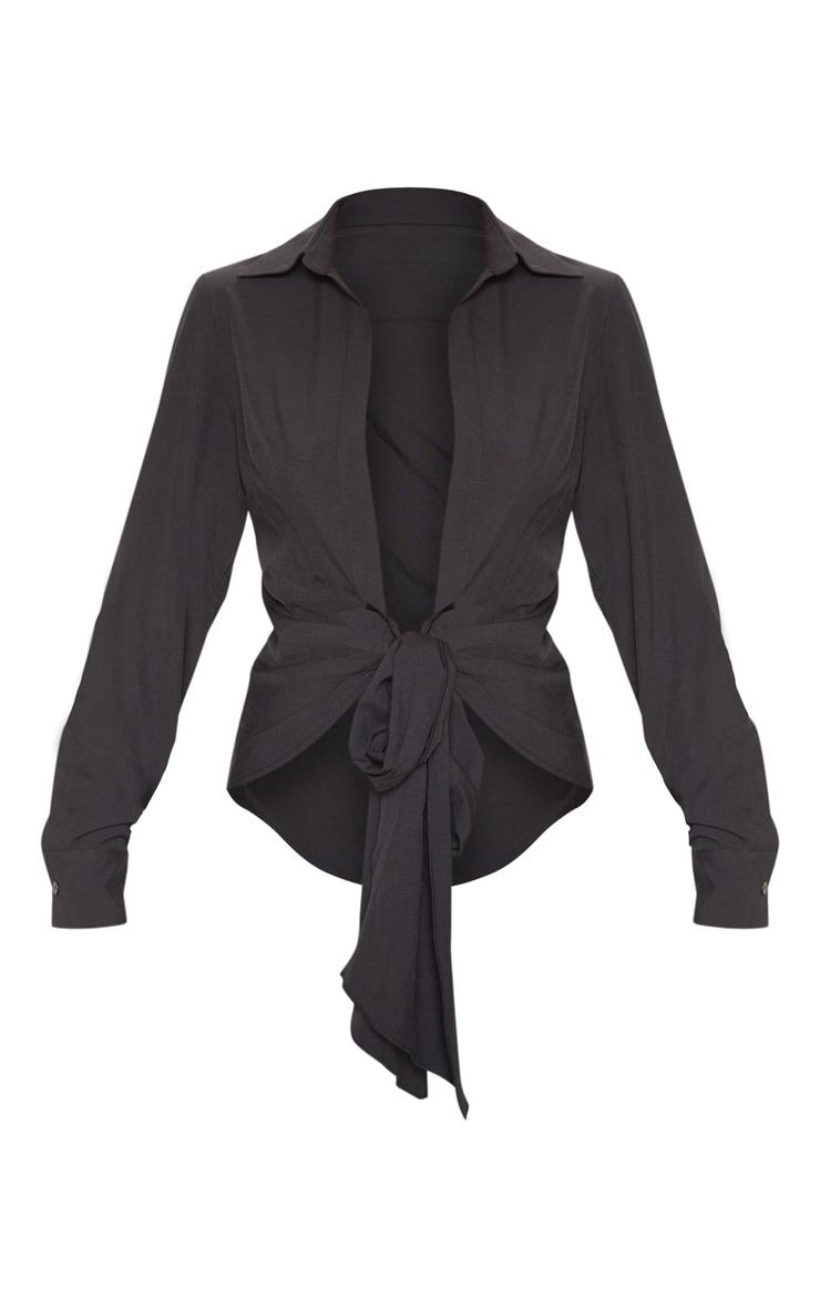 Black Woven Tie Front Shirt 3