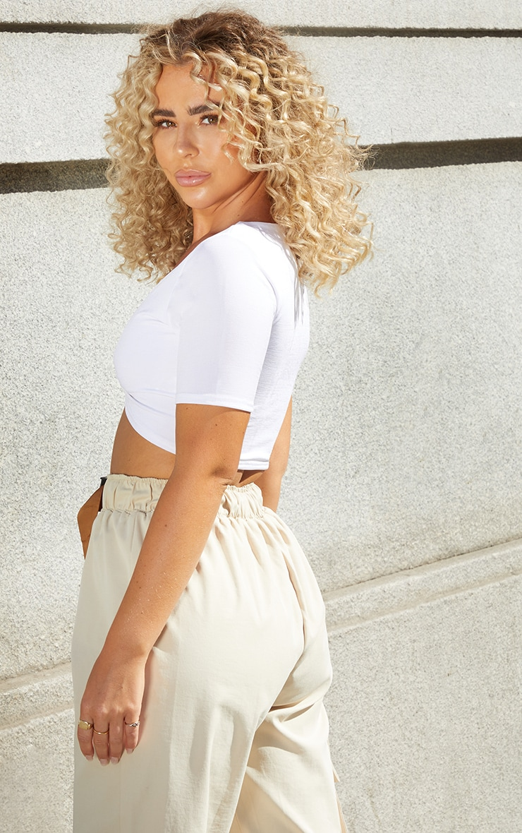 White Slinky Ring Detail Crop Top 2