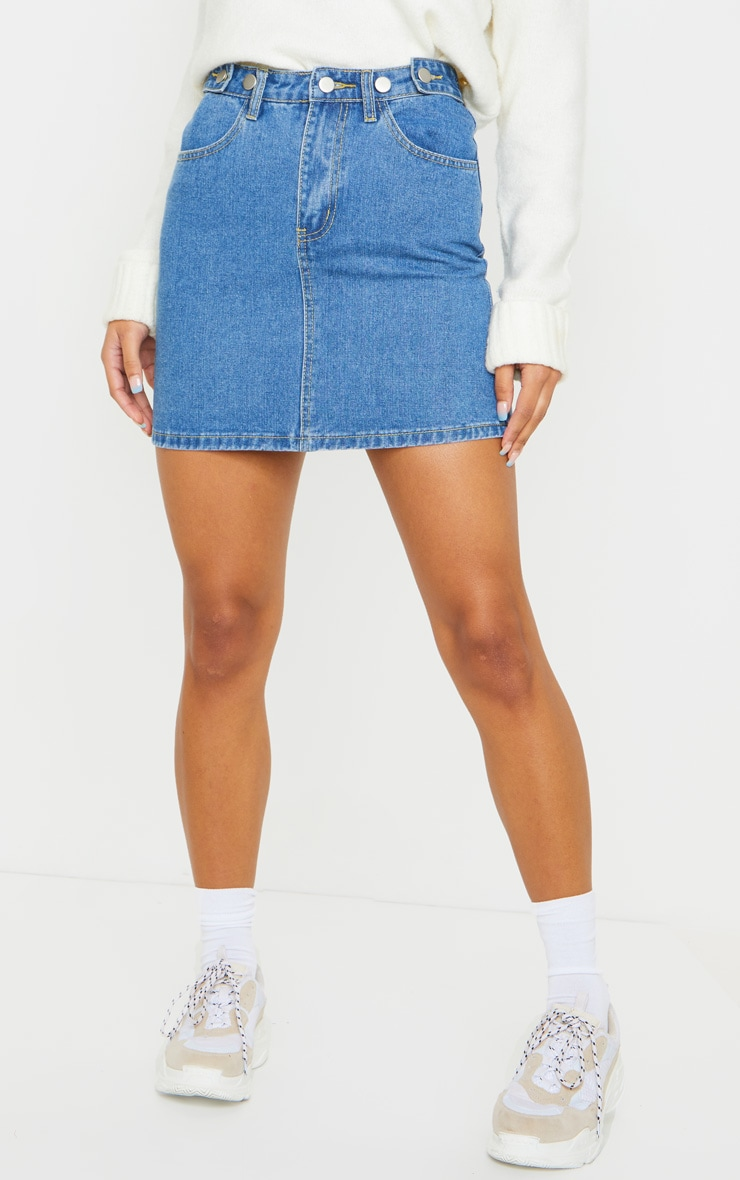 Mid Blue Wash Button Waist Skirt 2