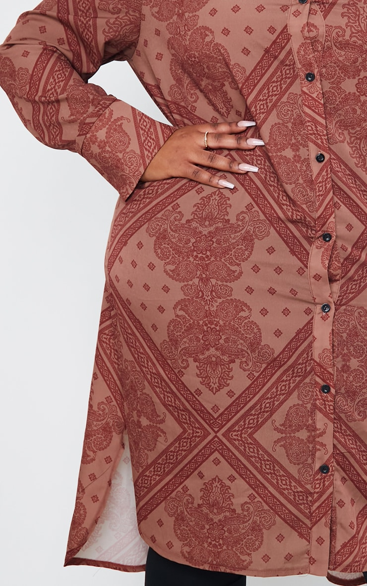 Plus Rust Printed Split Hem Shirt Dress 4
