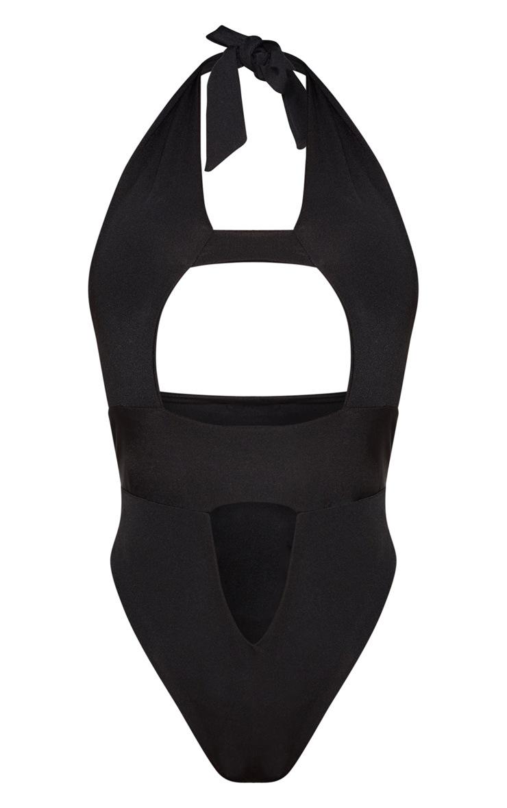 Shape Black Cut Out Front Halterneck Swimsuit 3