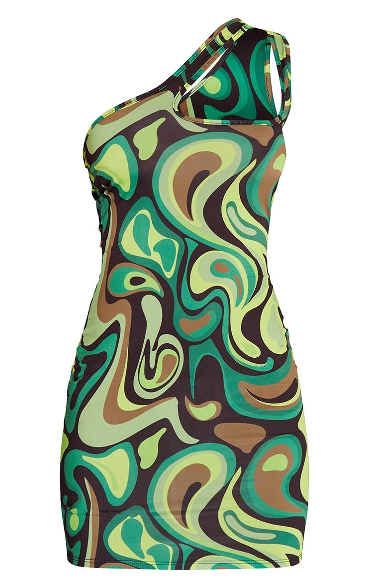 Green Swirl Print Slinky One Shoulder Cut Out Detail Bodycon Dress 5