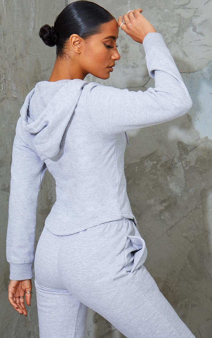 Grey Marl Corset Detail Zip Up Hoodie 2
