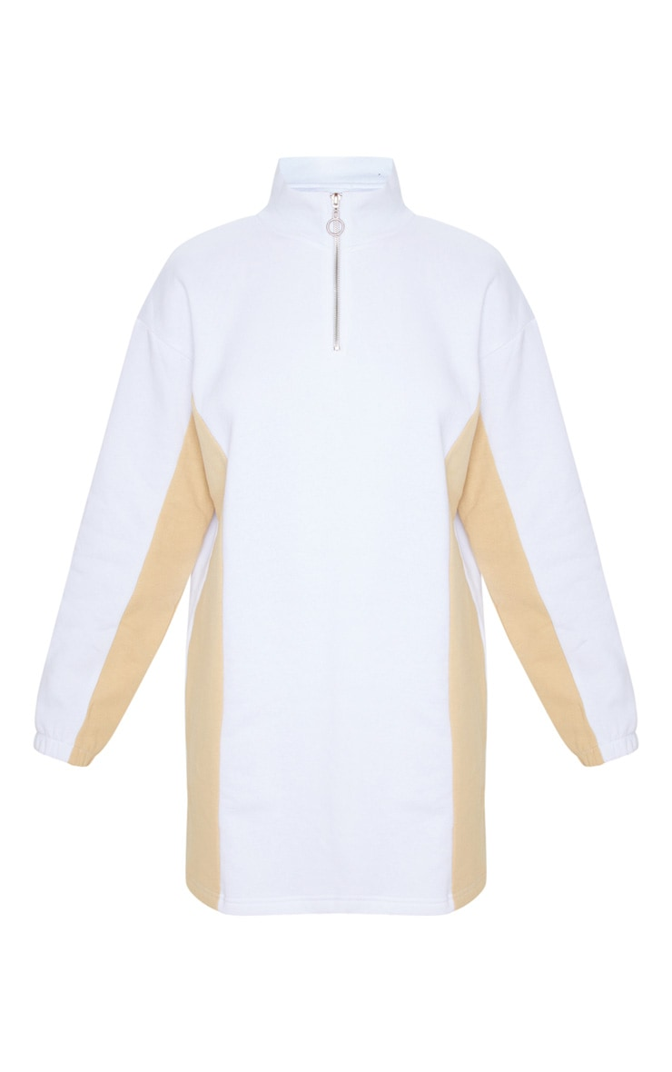 White Color Block Long Sleeve Zip Neck Sweater Dress 3