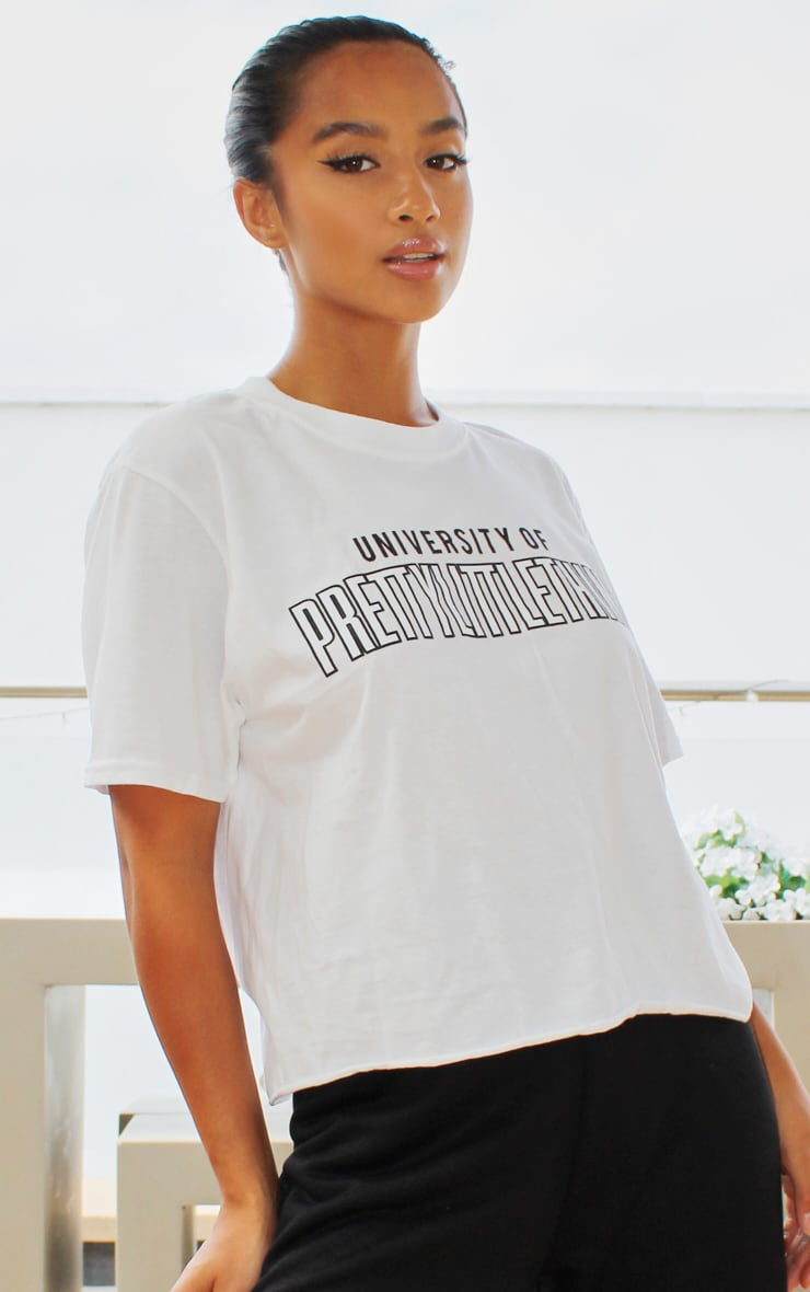 PRETTYLITTLETHING White University Cropped T shirt 4