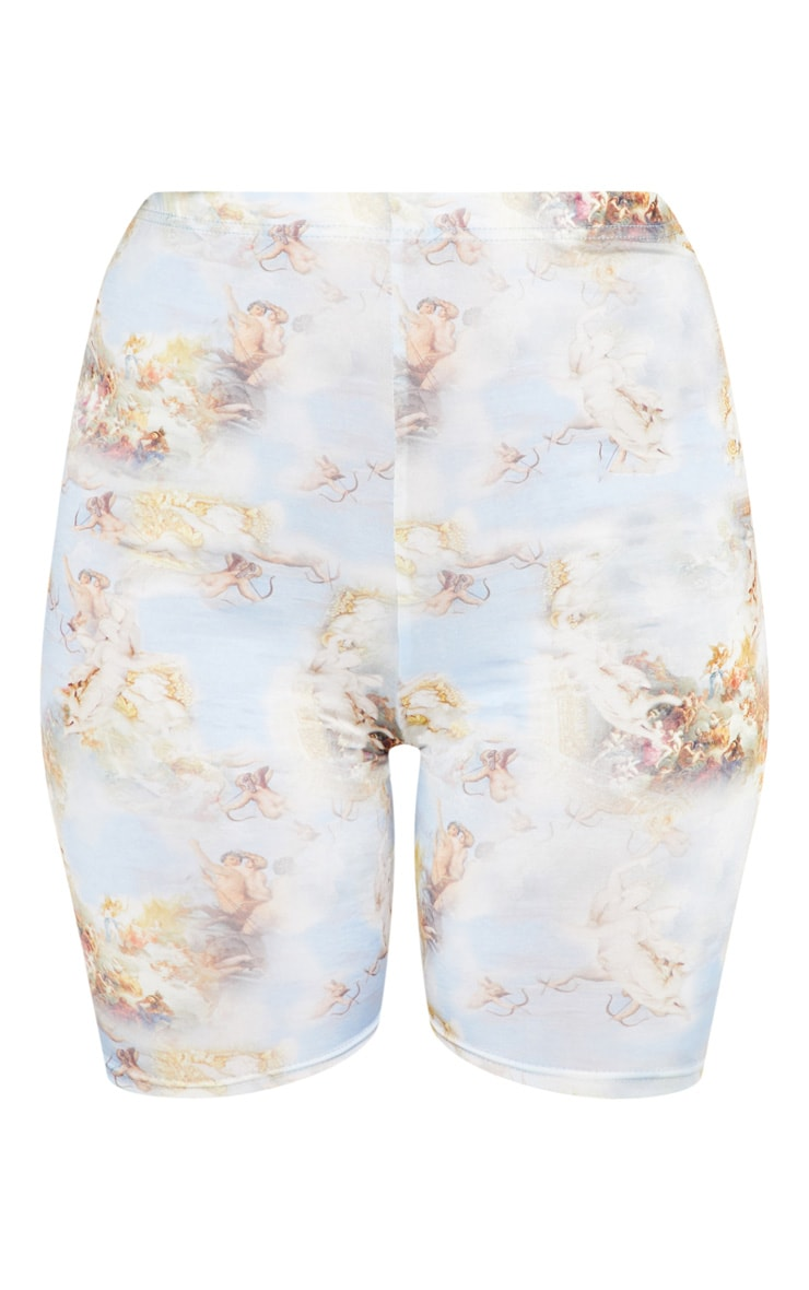 Pale Blue Renaissance Print Cycle Short 3