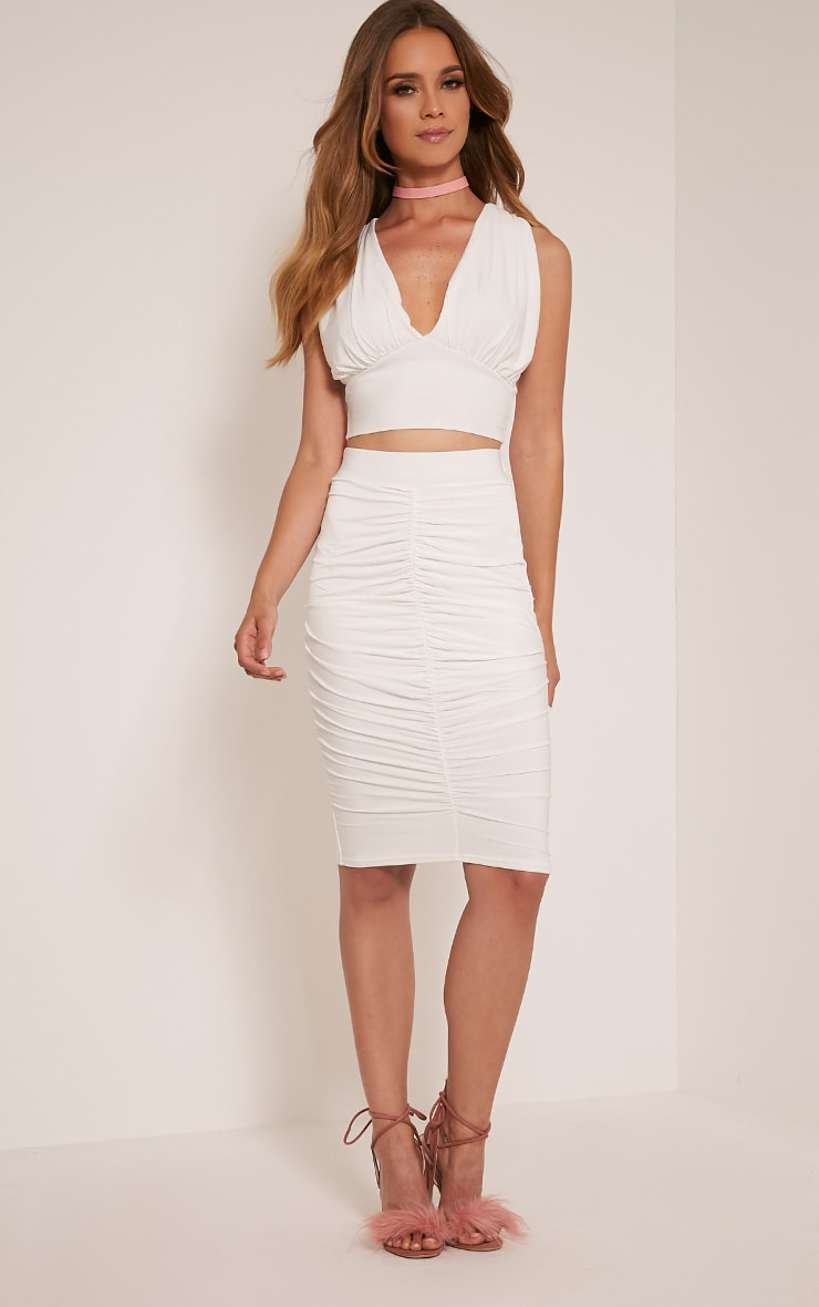 Nicole Cream Ruched Slinky Sleeveless Crop Top 5