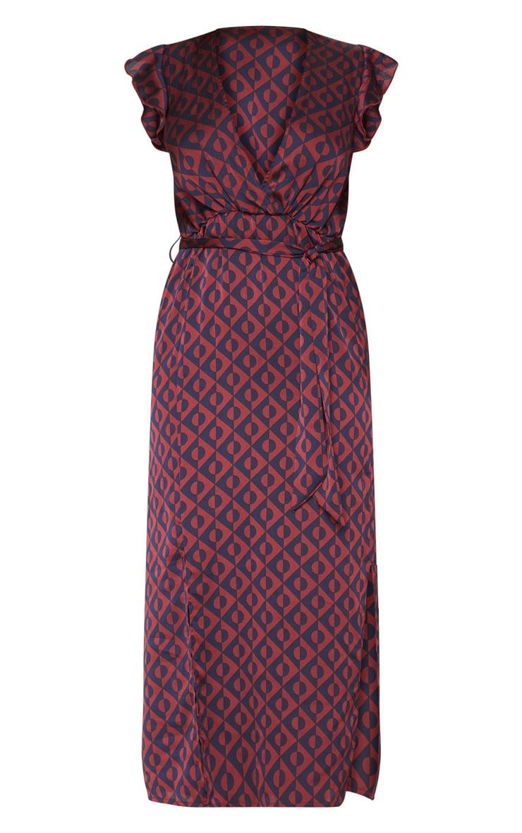 Navy Geo Print Satin Frill Shoulder Split Midi Dress 3