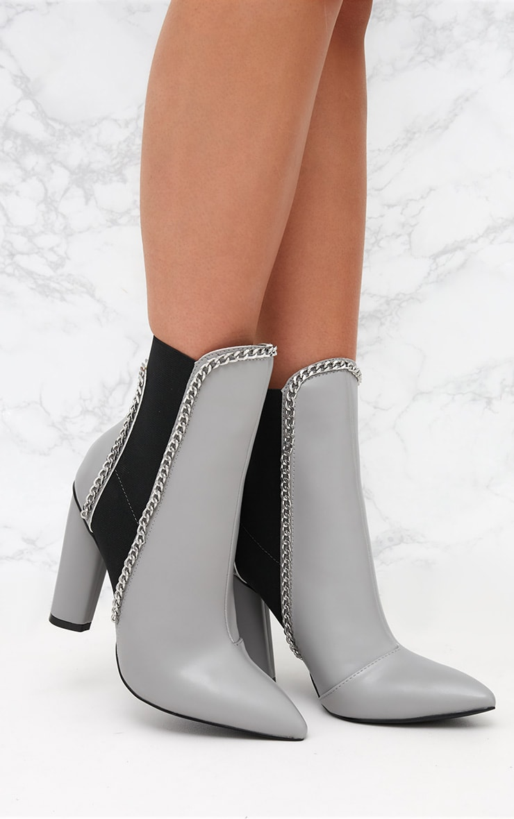 Grey Chain Trim Heeled Ankle Boots 1