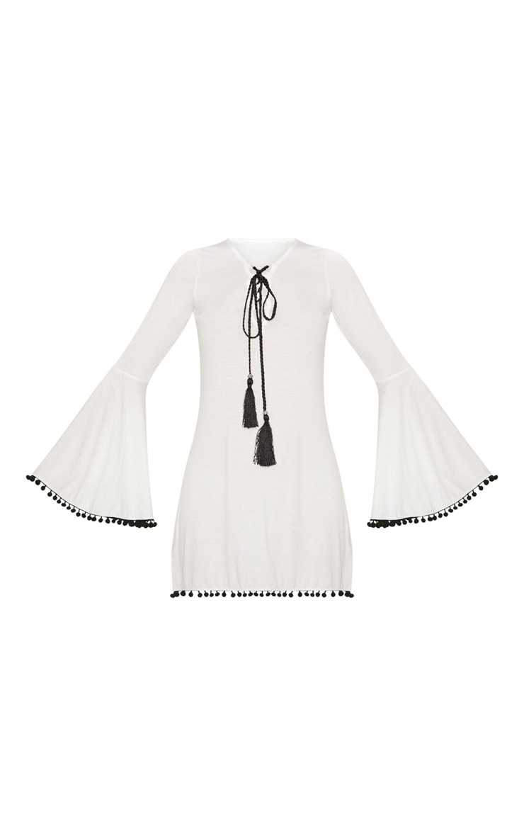 White Pom Pom Lace Trim Fluted Sleeve Skater Dress 3