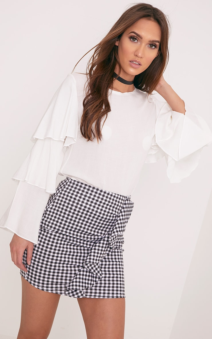 Kiana White Gingham Ruffle Mini Skirt 1