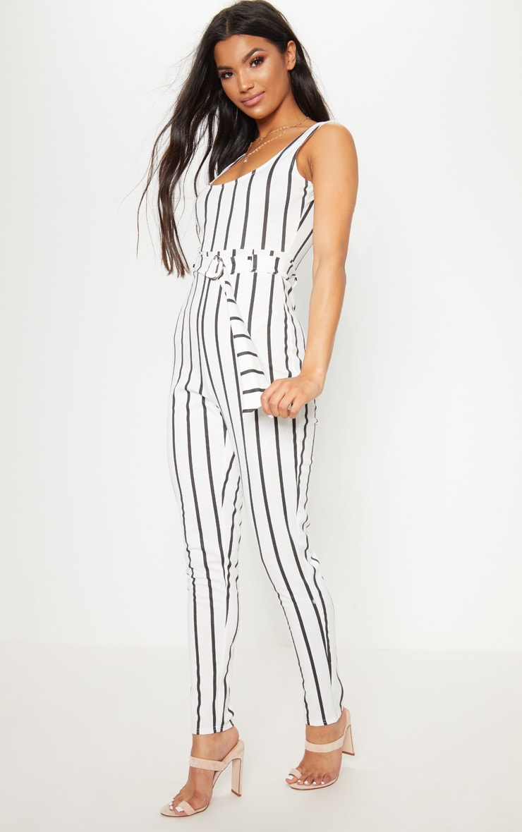 White  Stripe Belted Jumpsuit 4