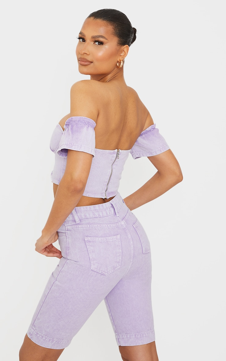 Lilac Bardot Lace Up Front Denim Crop Top 2