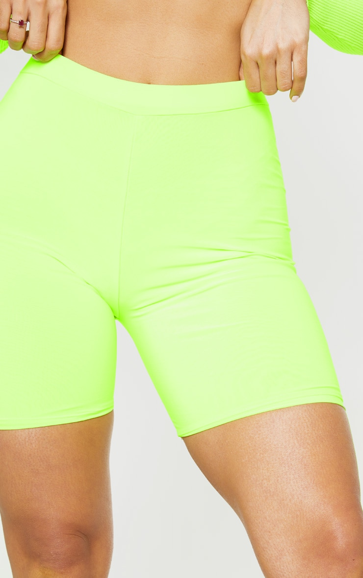 Neon Lime Slinky High Waisted Bike Shorts 6
