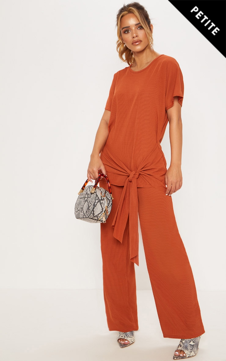 Petite Rust Ribbed Wide Leg Trouser