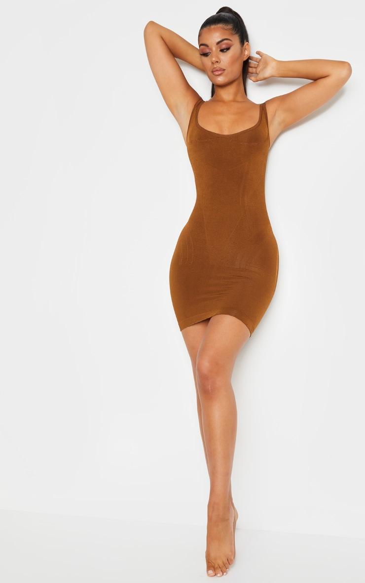 Brown Bum Lift Shapewear Slip Dress 4